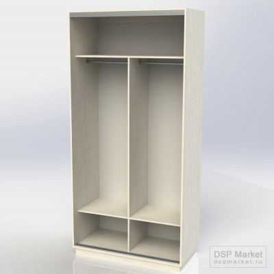 Шкаф-купе 2500х1200х600, 2 двери зеркало - наполнение